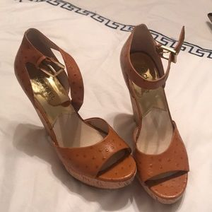 Michael kors ostrich print leather wedges